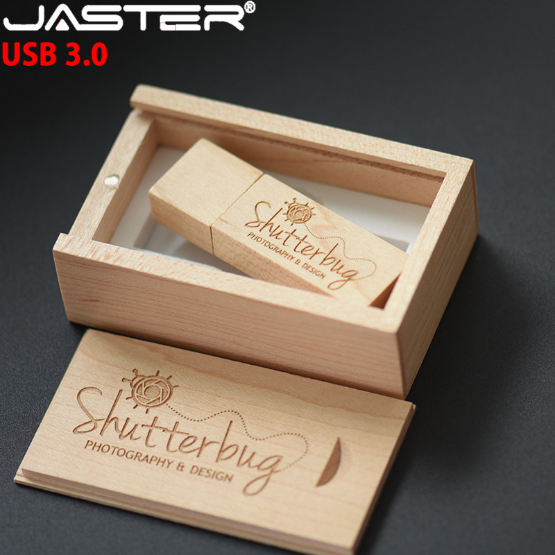 JASTER USB 3.0 Photography Customer LOGO Wooden Usb + Gift Box Usb Flash Drive Wood Pendrive 8GB 16GB 32GB 64GB Wedding Gifts
