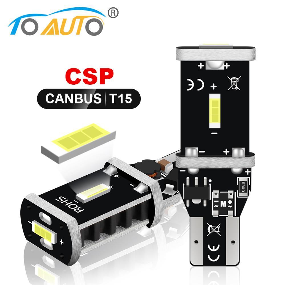 Светодиодная лампа Canbus W16W светодиодный 15, 2 шт., супер яркие светодиодные лампы CSP, без ошибок, 921, 912, стоп-сигнал, задний фонарь 12 В, белый цвет