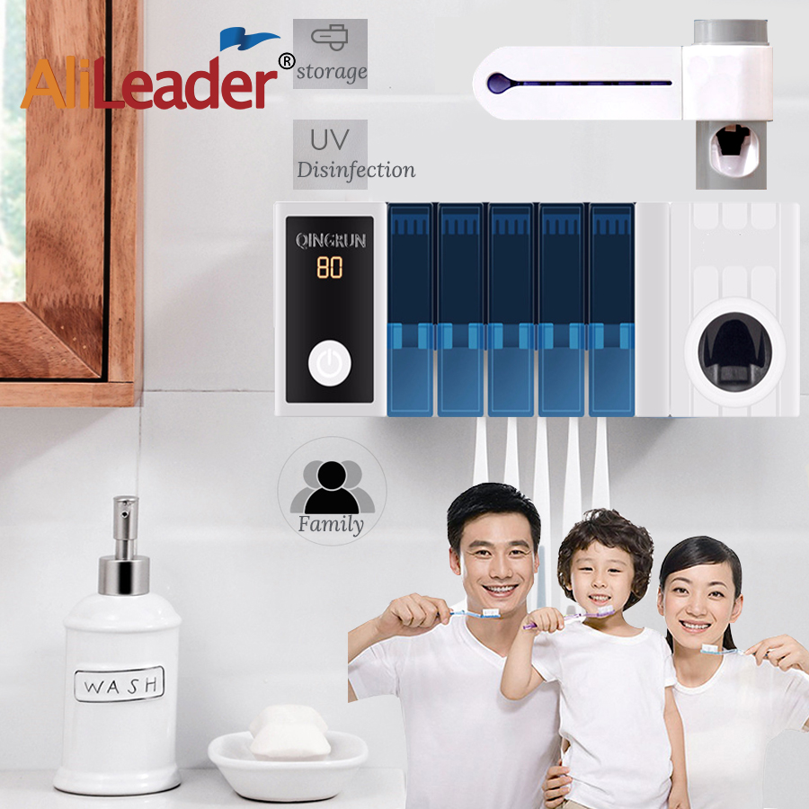 AliLeader Quality Toothbrush Sterilizer Wall-mounted UV Toothbrush Disinfection Box With Toothpaste Squeezer Hold 5 Toothbrushes
