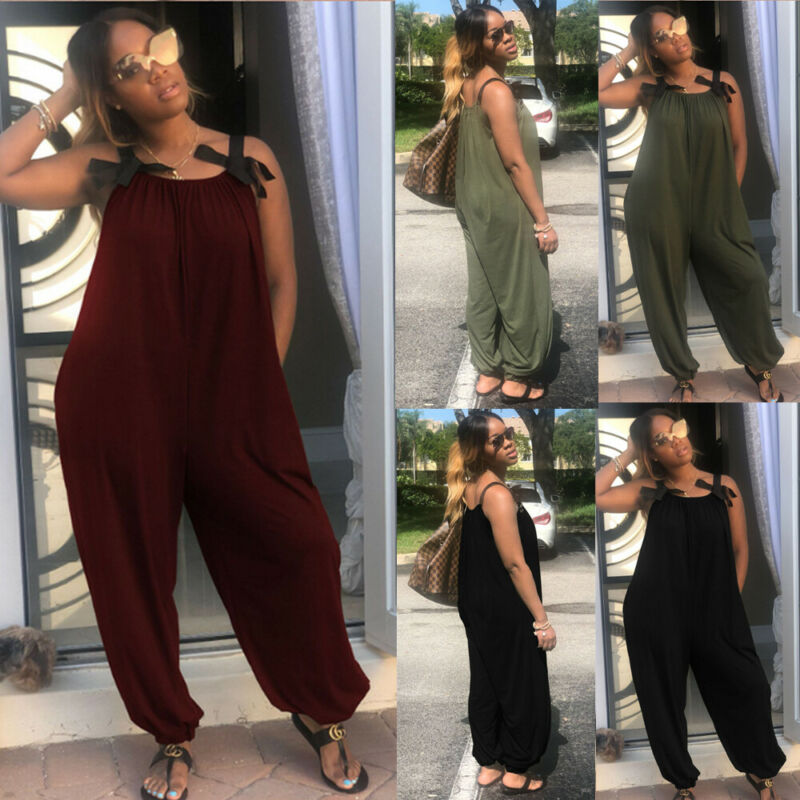 Plus Size Women Casual Loose Baggy Jumpsuit Romper Dungarees Playsuit Trousers Overalls Harem Strap Pant