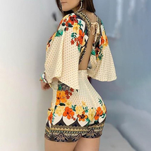 Women's Jumpsuit Casual Summer Floral Printed Playsuit 2020 Women Rompers 3/4 Sleeve Backless Playsuit Women Clothes S-XL D30