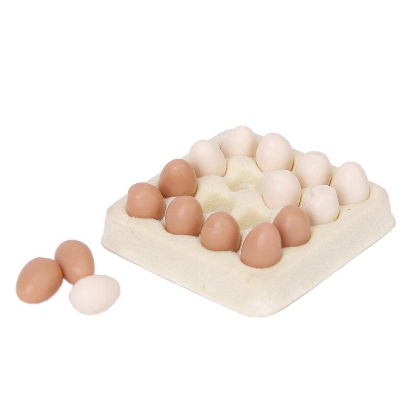 1/12 Dollhouse Miniature Egg Carton With 16 Pcs Eggs Dollhouses