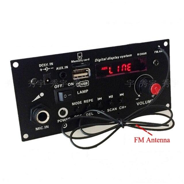 DIY רמקול 3.7V ליתיום סוללה דיגיטלי Bluetooth מונו מגבר לוח מיקרופון קריוקי מגברי AUX TF USB FM הקלטה