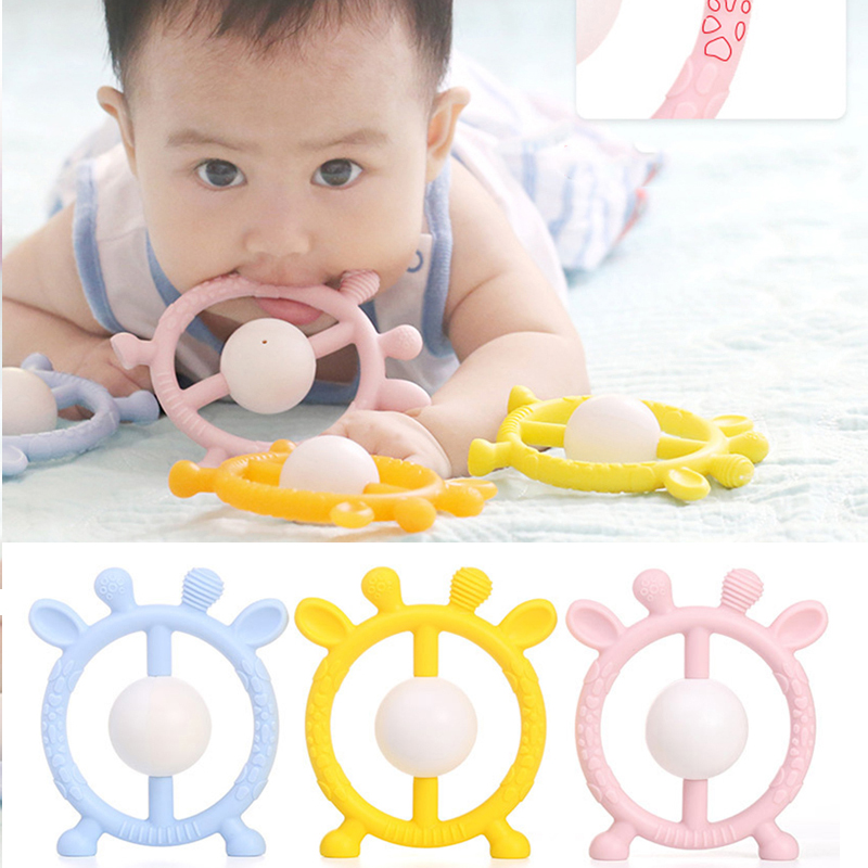 0-12 Moths Silicone Teether Rattle Toys Baby Molar Rod Tooth Solid Tooth Grasping Hand Grab Bell Rattle Toys For Infants