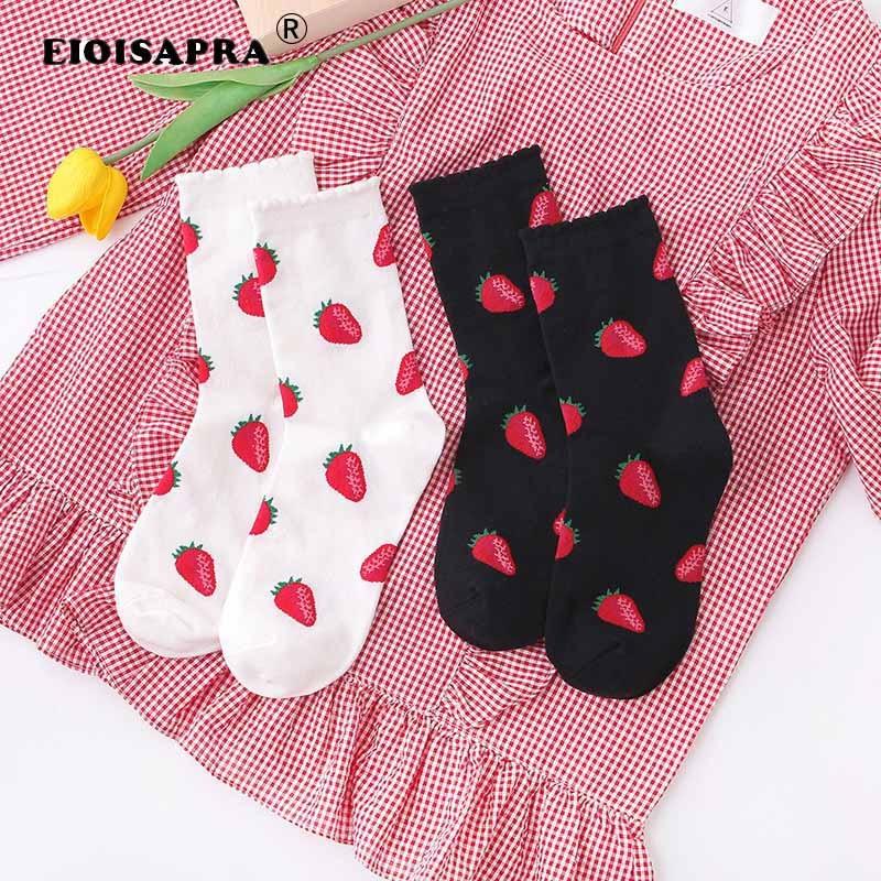 Korean Harajuku Fashion Trend Women Socks Lovely Cartoon Fruit Strawberry Persimmon Blueberries Lemon Christmas Gift Happy Socks
