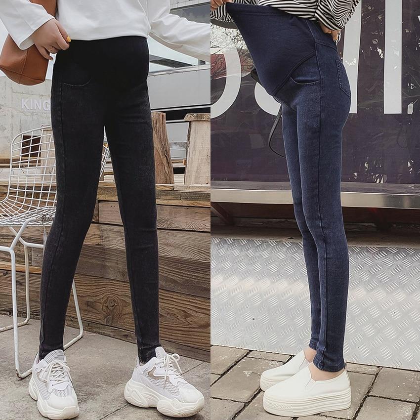 Korean Fashion Pregnancy Stomach Lift Pants Autumn And Winter New Pregnant Women High-elastic Fried Flower Feet Jeans
