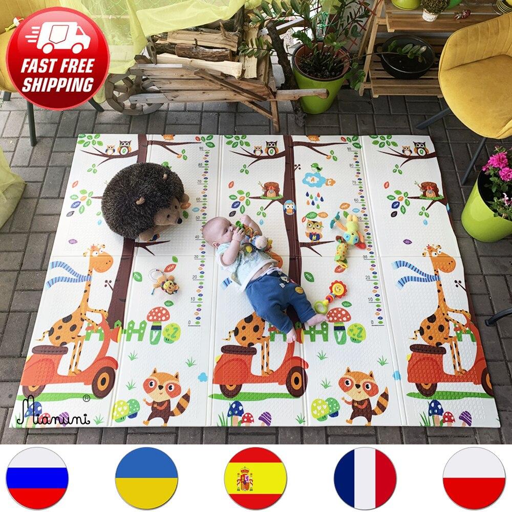 Miamumi 아기 활동 체육관 거품 매트 어린이 Playmat 홈 접는 열 카펫 크롤링 깔개 동물 알파벳 어린이 장난감 개발