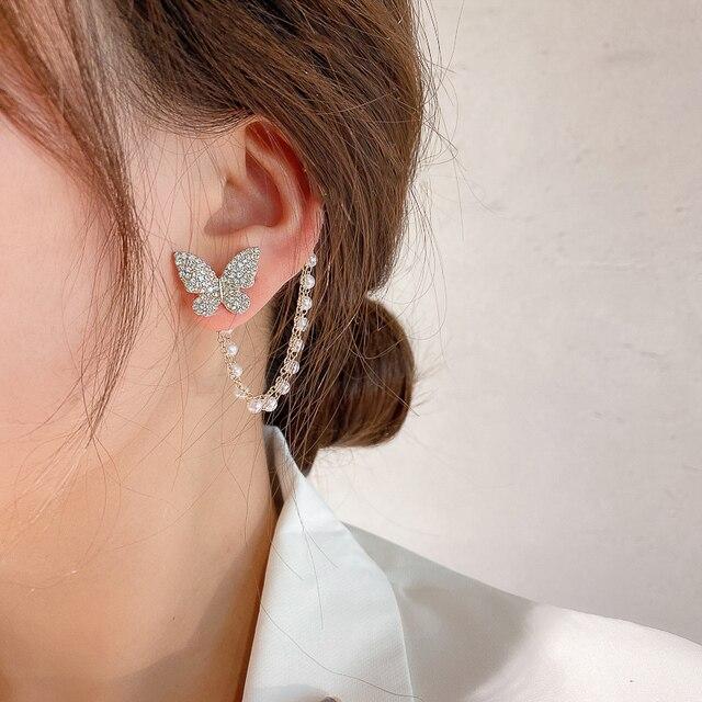 Korean Elegant Cute Rhinestone Butterfly Stud Earrings For Women Girls Fashion Metal Chain Boucle D'oreille Jewelry Gifts 3