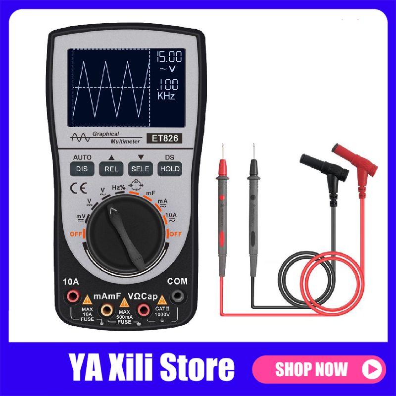 Et826 multímetro digital faixa automática retroiluminação dc/ac tensão medidor de corrente resistência capacitância testadores