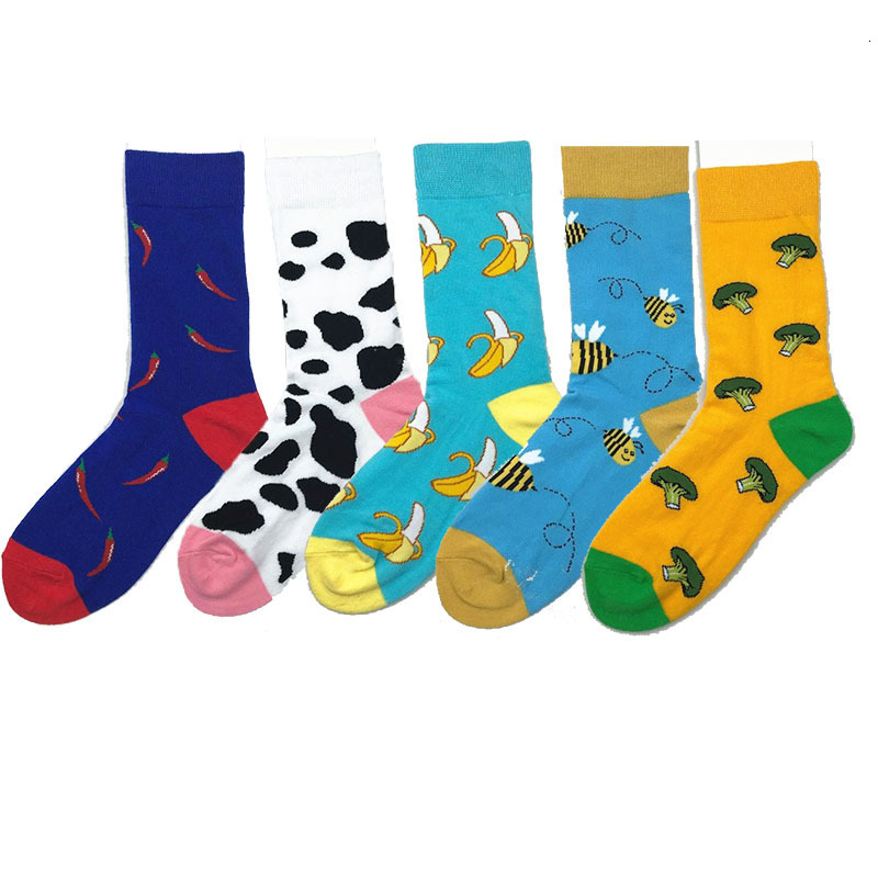 Colorful Cotton Men Socks Funny Pineapple Broccoli Pepper Beer Chili Skate Harajuku Happy Socks For Christmas Gift