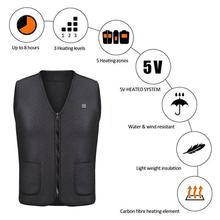 Unisex invierno chaleco calefactor eléctrico alimentado por USB Chaleco de calefacción chaqueta más caliente chaleco camiseta sin mangas abrigo invierno chalecos térmicos