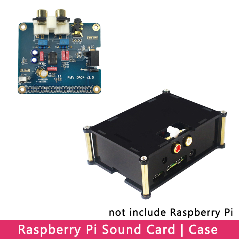 Raspberry Pi 4 PiFi DAC+ V2.0 I2S Interface HiFi Sound Card Analog Audio Board | Acrylic Case Shell For Raspberry Pi 4 Model B