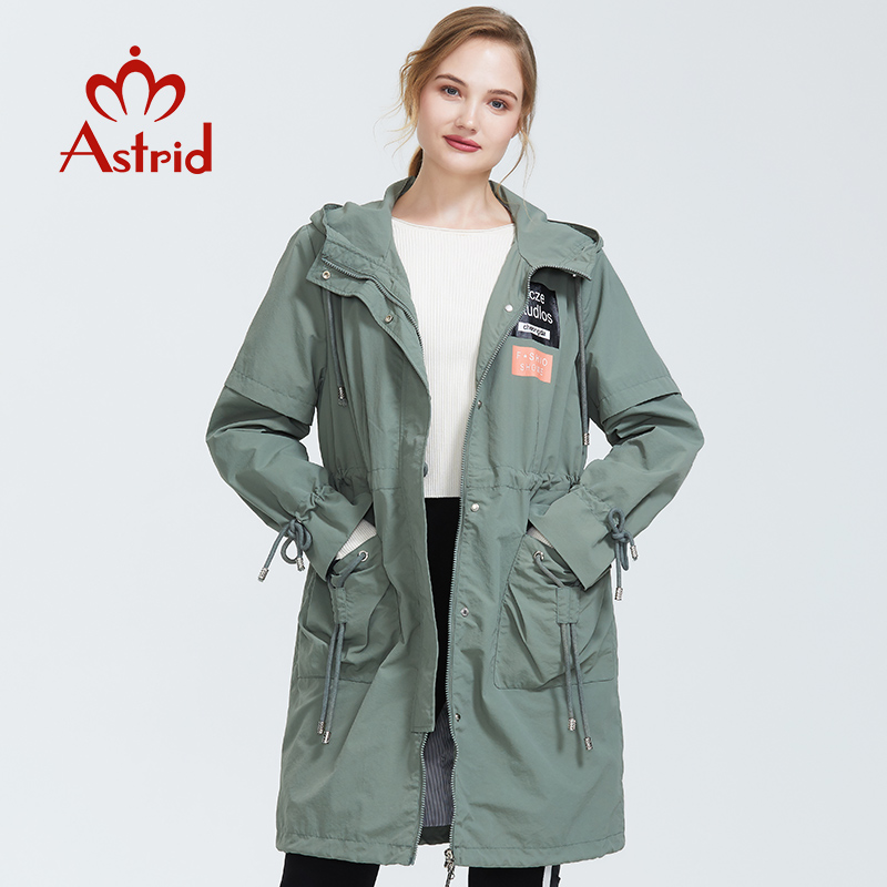 Astrid 2019 Autumn New Arrival Quilted Plus Size Women Trench Coat With A Hood Spring-autumn Army Green Long Coat Women AS-7015