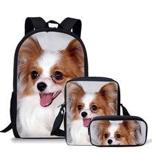 Koko Cat 3Pcs/set Childrens School Bags Cute Papillon Printing Schoolbag Teenagers Shoulder Backpack Softback Bolsa Escolar