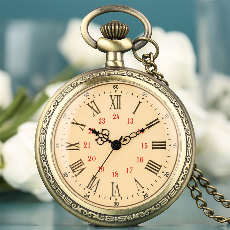 Vintage Charm Quartz Pocket Watch Roman Numerals Display Necklace Clock Fob Bronze Sweater Chain Open Face Pocket Clock Unisex