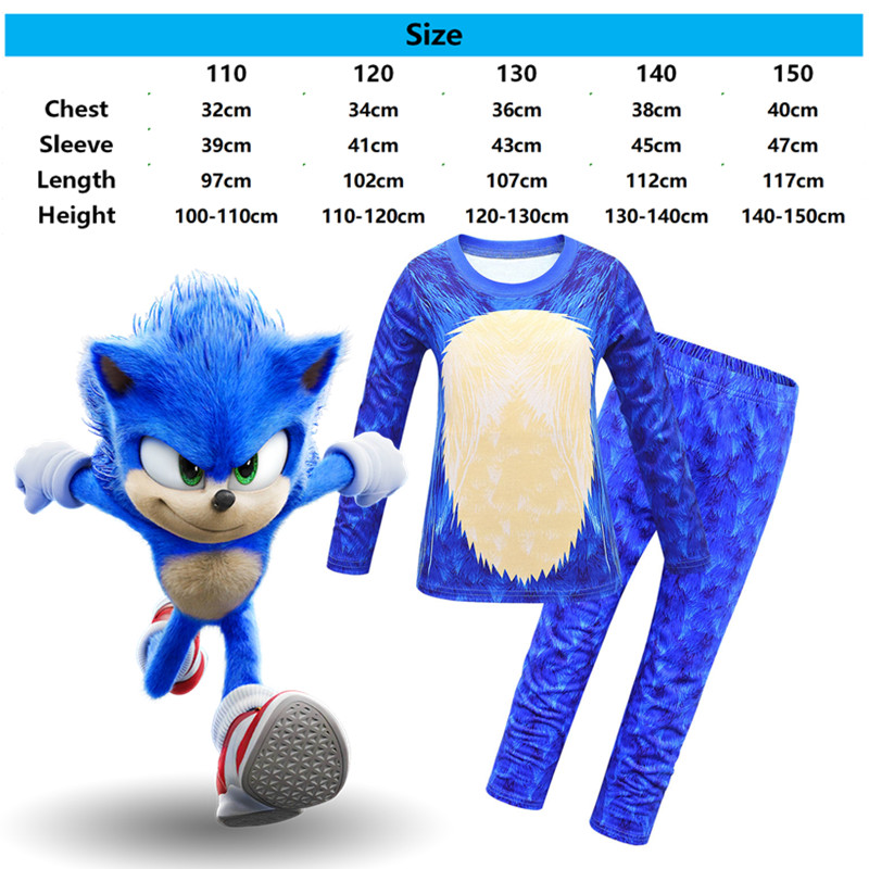 2020 Halloween Boys Costume Sonic The Hedgehog Bule Game Anime Cosplay Clothings Party Long Sleeve Trousers Mask Gloves For Kids 6