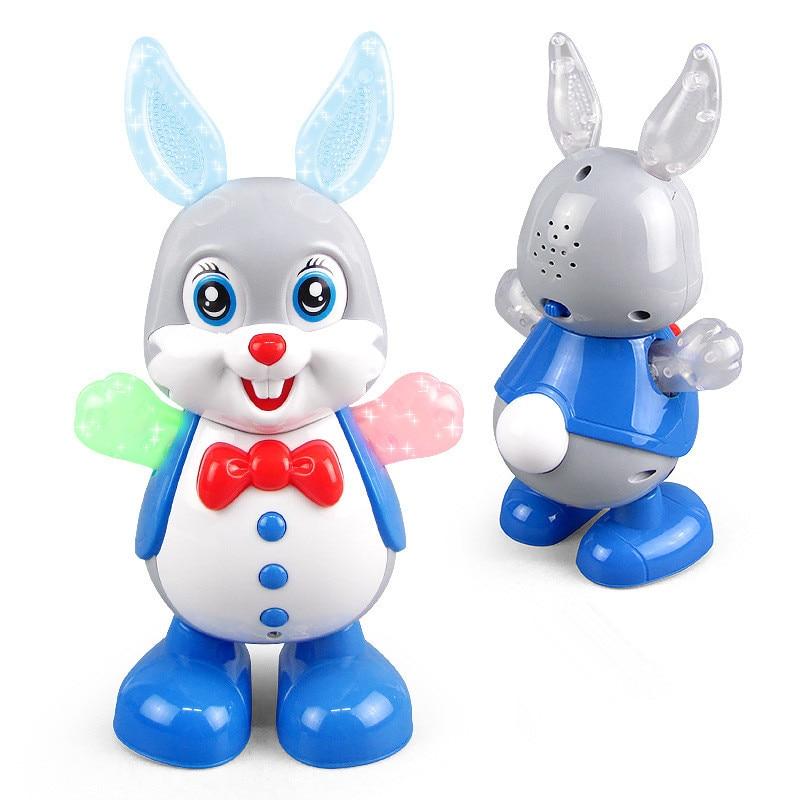 Electric Dancing Doll Music Lighting Rabbit Toy Animal Shiny Educational Electronic Walking Robot Kids Toy