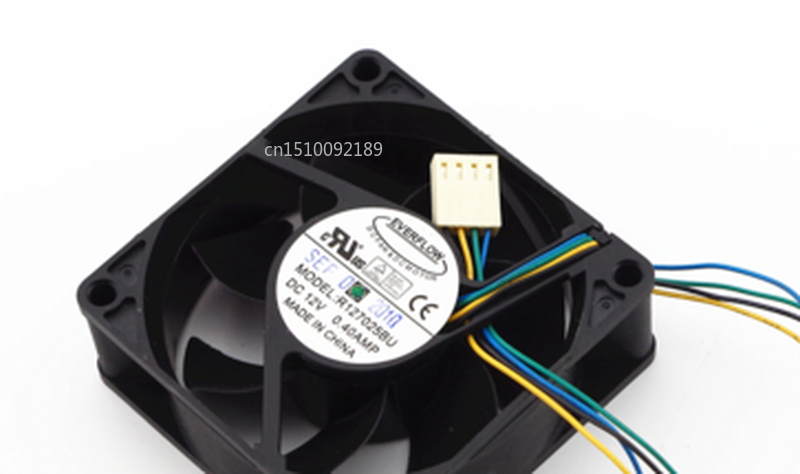 Free Shipping R127025BU PWM Temperature Control Cooling Fan DC 12V 0.4A 7025 7CM 70*70*25mm 4 Wires