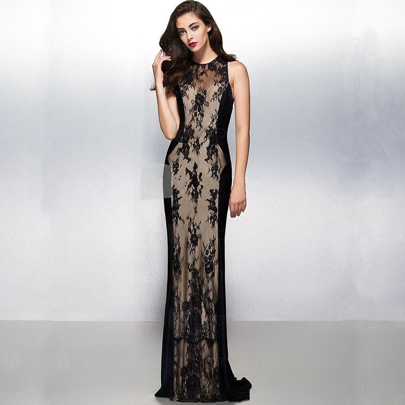For Sale 2018 Robe De Soiree Courte Saree Michael Korns Sexy Sleeveless Black Lace Evening Long Mother Of The Bride Dress