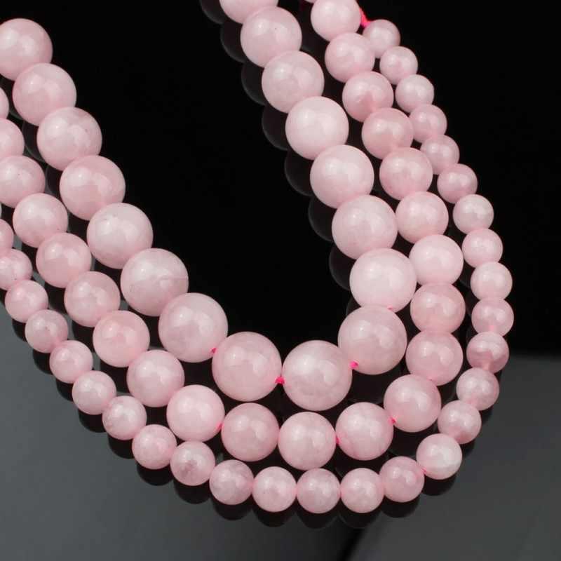 4/6/8 Mm Alami Madagaskar Rose Kuarsa Batu Manik-manik Bulat Manik-manik Longgar untuk DIY Gelang Aksesoris Perhiasan membuat 7.5 Inch