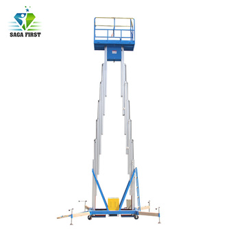 Mobile electric aluminum aerial lifting work platform dual mast  lift table