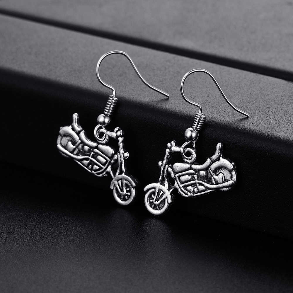 Modernos pendientes colgantes con forma de motocicleta Vintage para mujeres y niñas pendientes retro de gota pequeños y bonitos pendientes de joyas