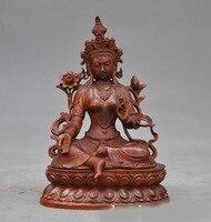 wedding decoration Old Chinese Boxwood wood Hand carved Buddhism temple Green Tara Kwan Yin Statue