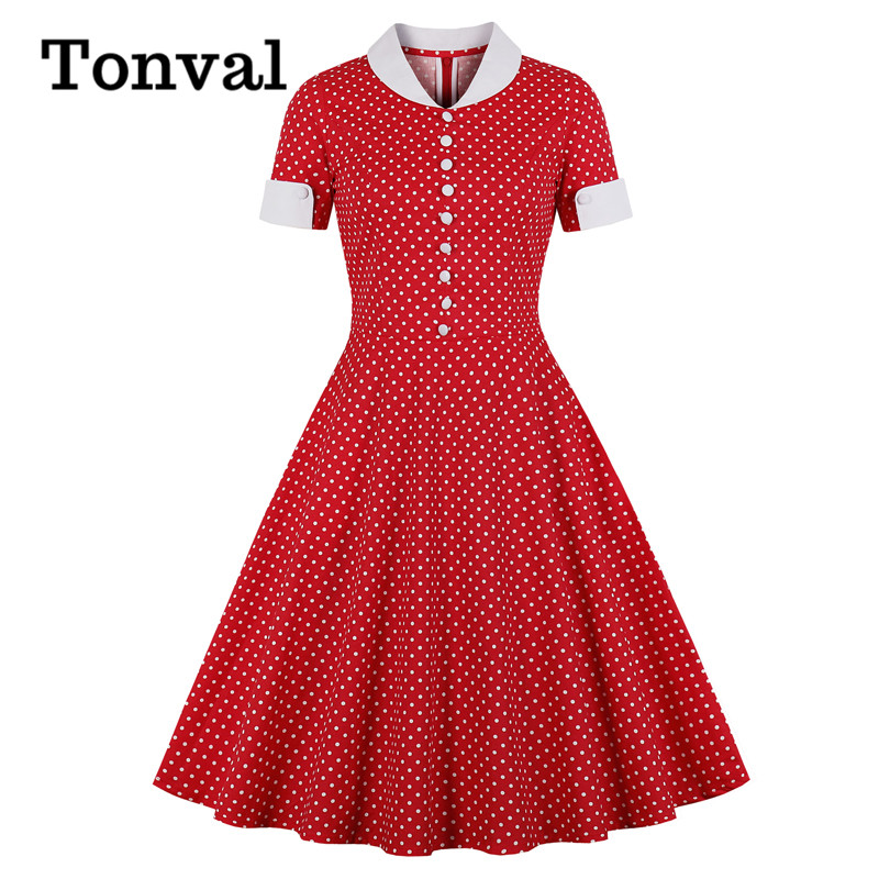 Tonval Button Front Polka Dot Vintage Summer Dress Plus Size Women Pocket Side Elegant Rockabilly Midi Swing Dresses