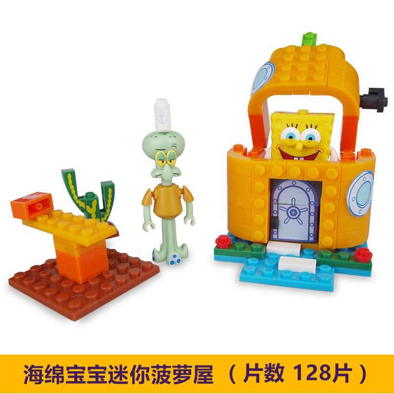 جديد leeping سبونجبوب الموسيقى اللعب الأناناس منزل أصدقاء كرابي باتي باتريك Squidward ألعاب مكعبات البناء للأطفال