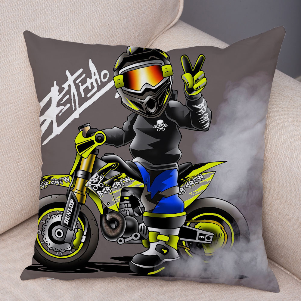 Extreme Sports Cushion Cover Decor Cartoon Motorcycle Pillowcase Soft Plush Colorful Mobile Bike Pillow Case for Sofa Home Car 12