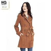 Top 100% Real Leather Windbreaker Coat Woman Brown Belt Double Breasted Women Long Jacket European Long Sheepskin Outerwear Lady