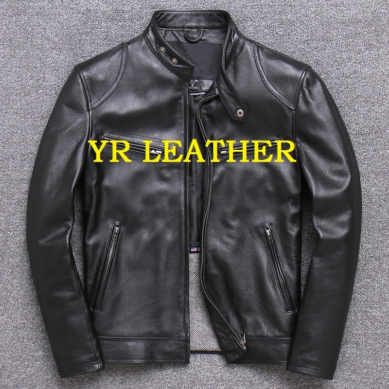 2020 Free Shipping.Wholesales.Brand Motor Style Leather Jacket For Man.black Genuine Cow Leather Coat.slim Classic Biker Jacket