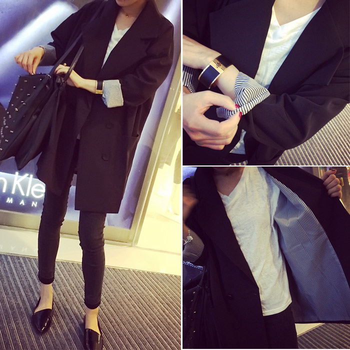 Early autumn 2019 new Korean version loose thin medium long casual black suit jacket women's blazer jacket