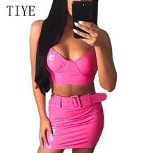 TIYE Two Pieces Sets PU Leather Sexy Bodycon Women Dress Elegant Spaghetti Strap Female Party Club Short Vestidos