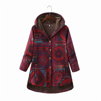 Women Winter Floral Printed Coat Vintage Harajuku Plus Size Loose Casual Jackets Plus Velvet Thick Warm Hooded Fashion Coat 10