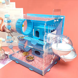 Pet-Nest Pig-Cage Double-Hamster-Cage Small-Pet Dutch Acrylic Large-Size Blue with 30x20x30cm