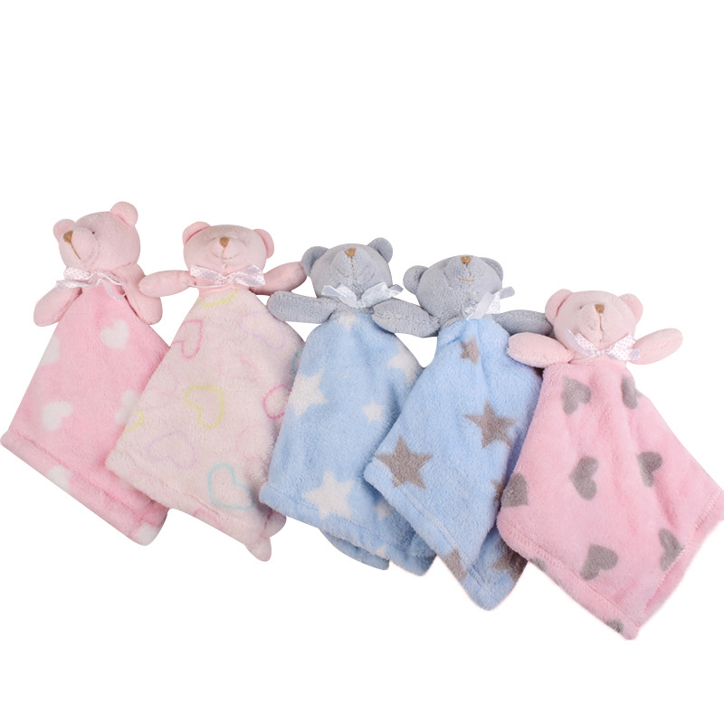 Furry Soft Stuffed Animal Stars Heart Soothe Blanket Bashful Baby Security Blanket Bear Pacify Towel Newborn Appease Blanket