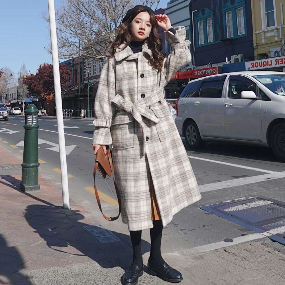 Women Wool Coat with Belt New Winter Plaid Long Outwear Woolen Jacket  Overcoat