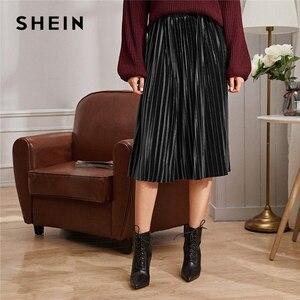 Image 3 - SHEIN однотонная плиссированная бархатная Гламурная юбка женская нижняя часть зимняя уличная Высокая талия Осенняя Элегантная Дамская базовая юбка миди