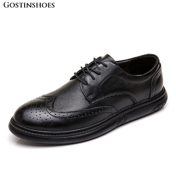 Men Buty Meskie Full Grain Leather Brogue Casual Business Adults Large Size Carved Buty Meskie фото