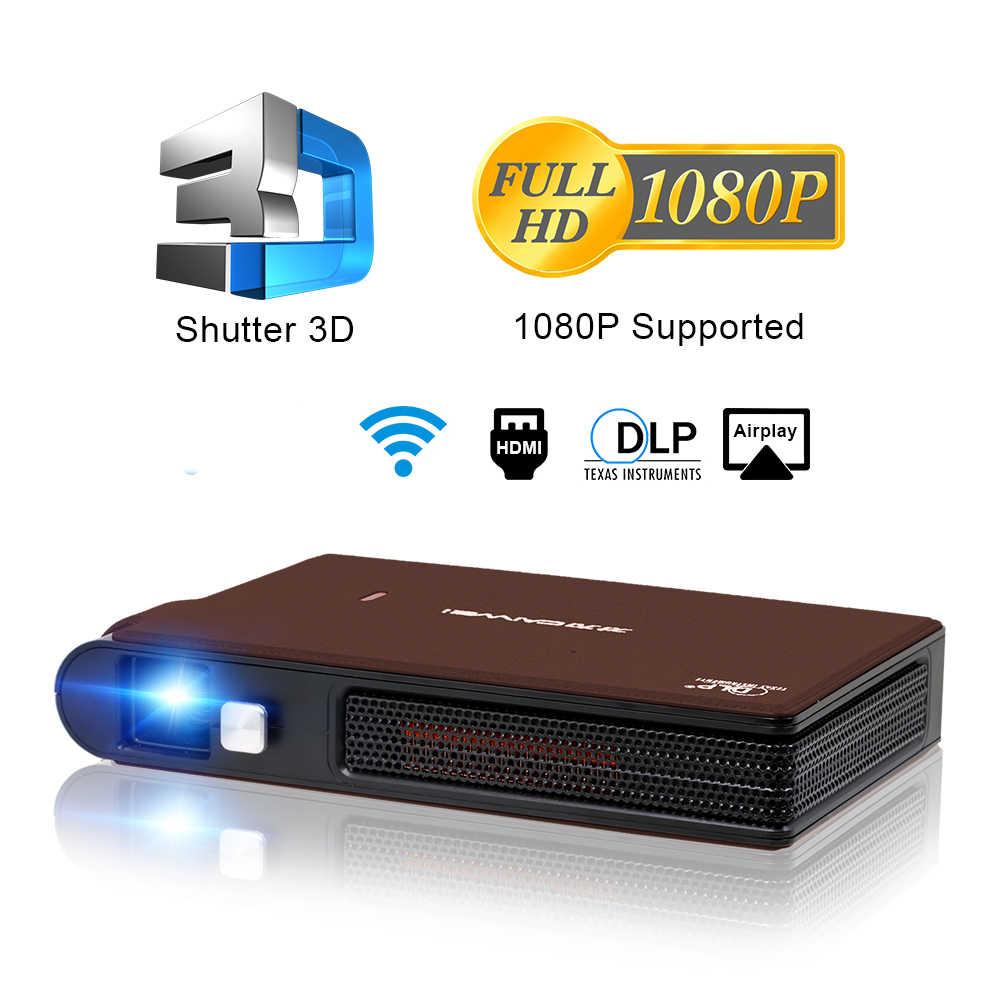 Caiwei S6W portátil de bolsillo Mini 3D DLP proyector LED soporte Full HD Video móvil WIFI Beamer Smartphone de cine en casa proyector