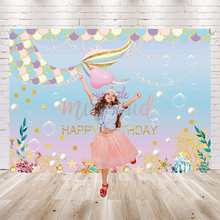 Mermaid Photography Backdrop Birthday Banner Party DIY Decorations Baby Shower Cartoon Characters Photo Studio Sea Background(China)
