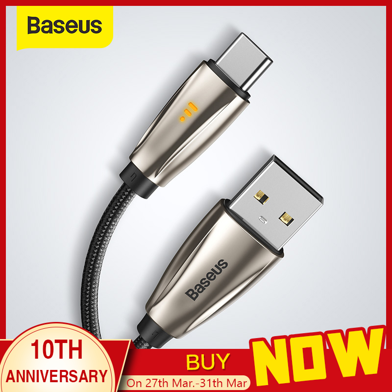 Baseus USB Type C Cable for Samsun S9 S10 Quick Charge 3.0 USB C Cable for Xiaomi Redmi Note 8 Pro LED USB Type USB C Wire Cord|Mobile Phone Cables| |  - AliExpress