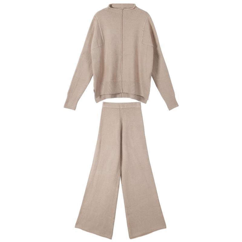 Image 5 - CBAFU autumn winter 2 piece set women knitted suit loose half  turtleneck sweater wide legs pants suit tracksuit trousers P546Womens  Sets