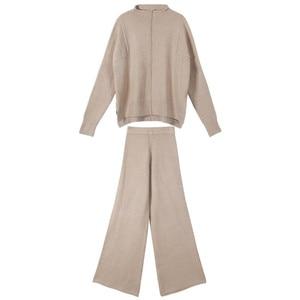 Image 5 - Cbafu outono inverno 2 peça conjunto feminino terno de malha solto meia gola alta camisola pernas largas calças terno treino p546