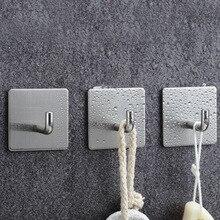Hanger Wall-Hook Storage Self-Adhesive Stainless-Steel Bathroom Kitchen Rack Coat Home