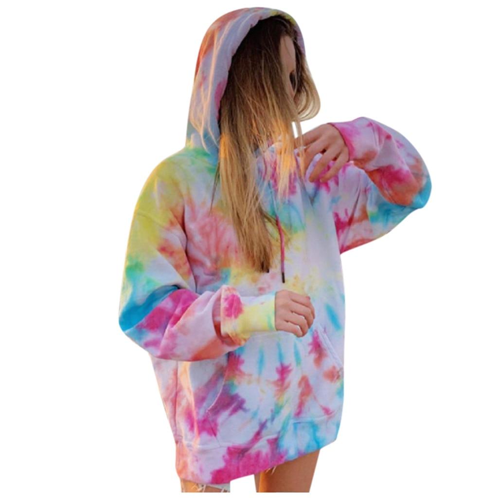 Rainbow Hoodies Women Sweatshirt Oversize Tie Dye Hoodie Streetwear Pullover Spring Autumn Casual Women Sweatshirts Hoddies Tops 7