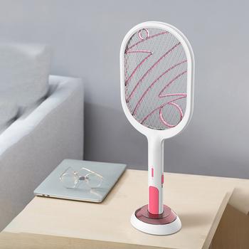 Elektryczna rakieta owadów Swatter Zapper USB 1200mAh akumulator packa na komary zabij muchy robaki Zapper zabójca pułapka tanie i dobre opinie 2-warstwowa 3000 V Mosquito Swatter 40 cm Elektryczne 19 cm Kabel usb do ładowania