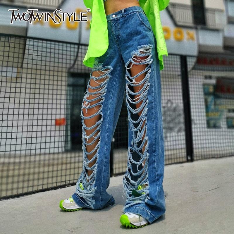 TWOTWINSTYLE Hollow Out Tassel Denim Women's Trousers High Waist Pocket Wide Leg Jeans Female 2020 Autumn Streetwear Fashion New