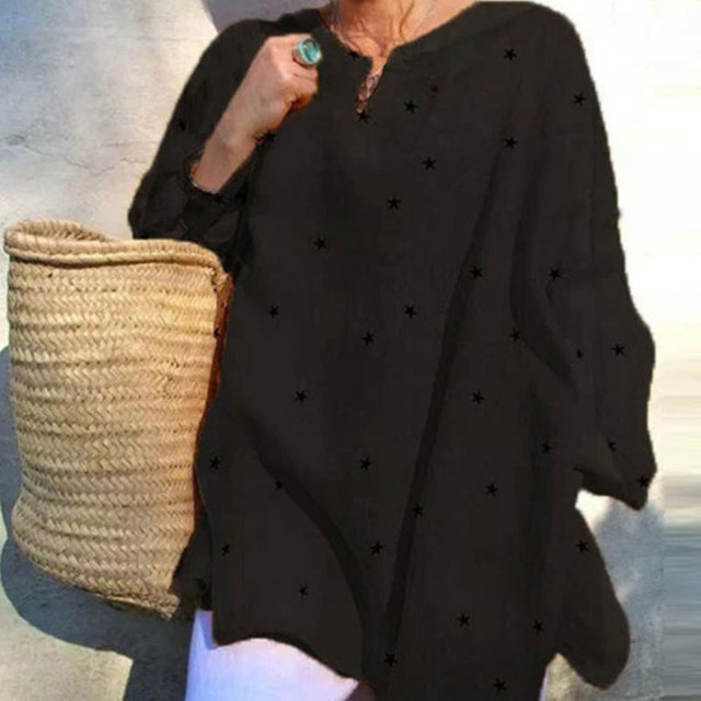 Jocoo Jolee Long Sleeve V Neck Stars Print Loose Blouse Casual Oversized Shirt 2020 New Elegant Tops Ladies Clothing 4